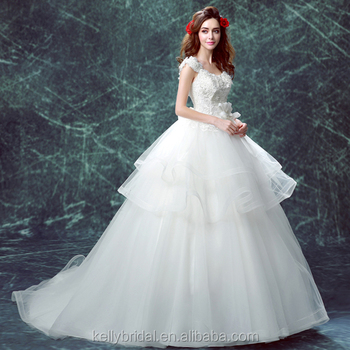 Zm16123 Romantic French Style Wedding Dress With Big Long Train Plus ...
