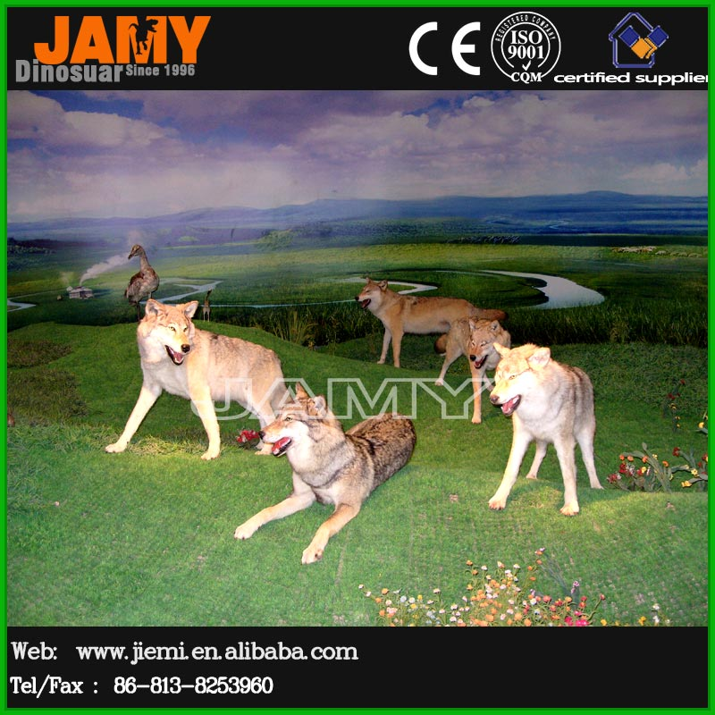 Artificial Zoo outdoor decoration animatronic life size wolf modle