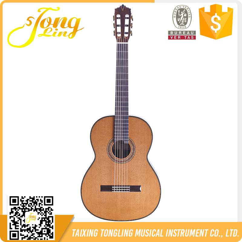 (TLGC-12YC)39 Inch all Solid Classical Guitar Handmade African Ebony Figerboard Classical guitar From China