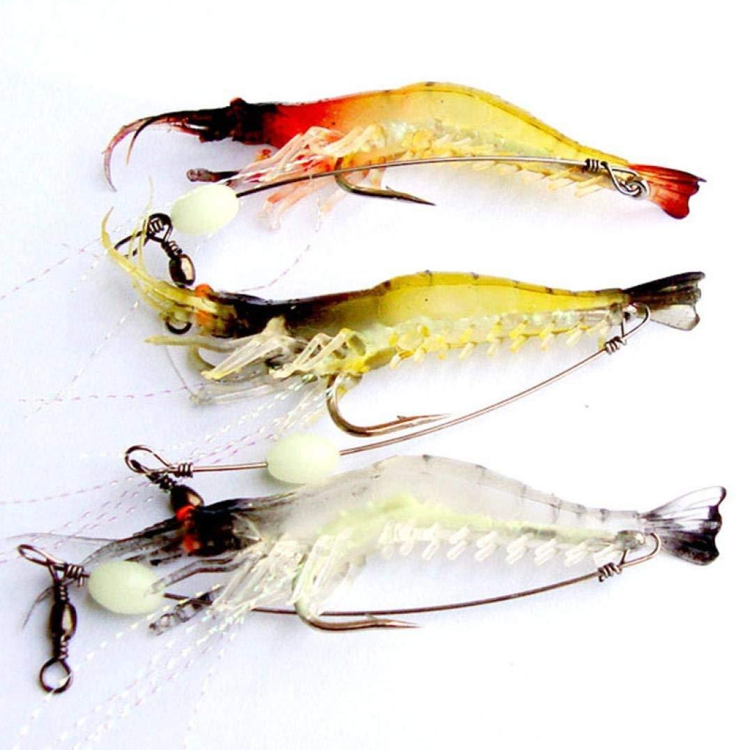 Rumas 3Pcs Lot Shrimp Fishing Bait Tackle, Bass Crankbaits, Minnow Trout Bait, Luminous Jerkbait (Multicolor)