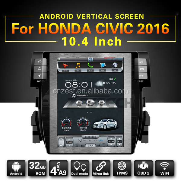Full touch screen car dvd player for HONDA CIVIC 2016 with Android 6.0,A9 system,high speed 1.6GHZ,support RDS,OBD,TPMS radio