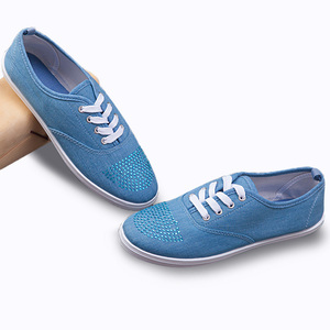 Customized Logo Women Flat Thin Sole Rhinestone Casual Shoes Canvas Upper