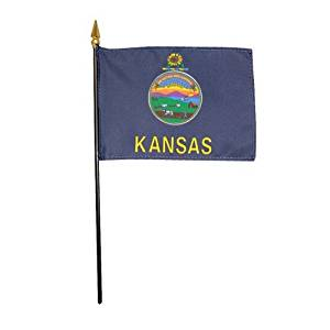 """Kansas 1961 State Hand Held Desk Table Top Polyester Flag 4"""" X 6"""" on 10"""" Black Plastic Staff with Gold Spear Tip (12 Pack)"""