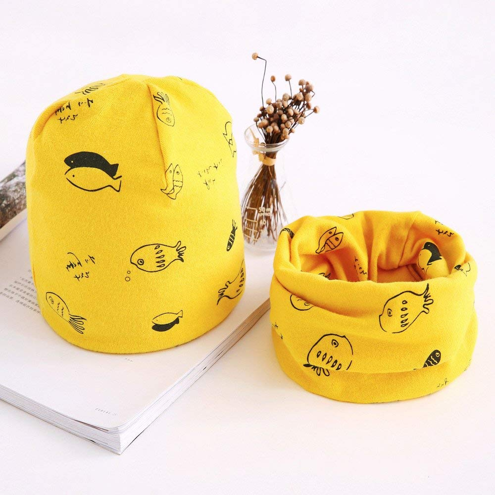 Jshuang Small Fish Child Hat Collar Suit, Fashion Baby Cute Winter Kids Baby Hats Keep Warm Set Cute Baby Scarf,Fit for 7-36 Month (Yellow)
