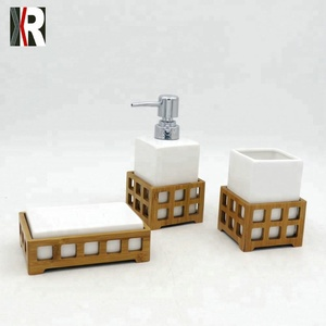 unique white ceramic soap dispenser bathroom accessory set with bamboo standing