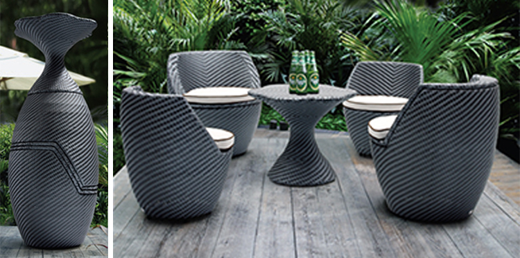 Foshan supplier high quality stackable cast aluminum rattan wicker modern space saving furniture