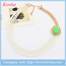 Multi layered pearl necklace fake gold plated indian jewellery pearl beaded collars