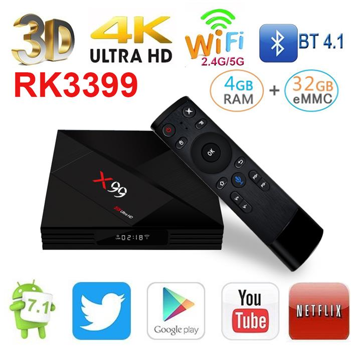 Newest arrival  X99 android 8.0 RK3399 4gb  Set Top Box