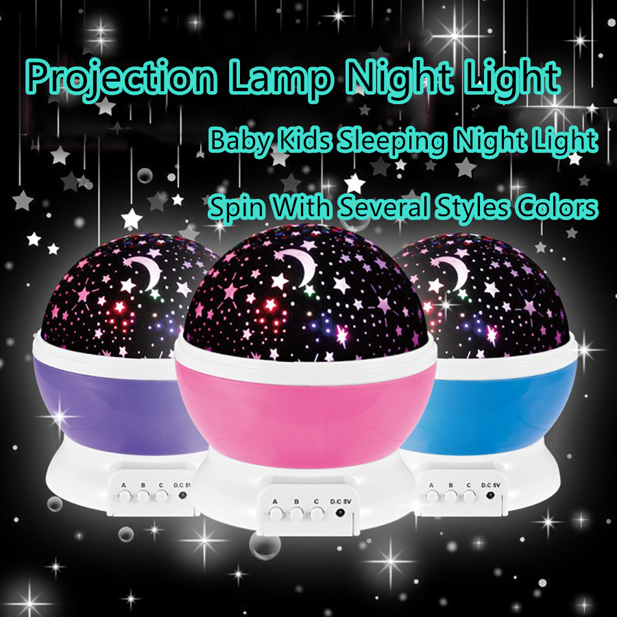 2016 Romantic Rotating Spin Night Light Projector Children