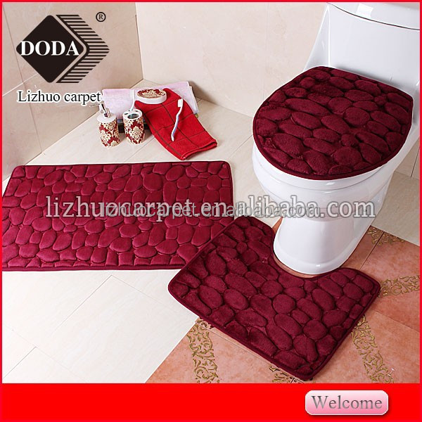 YWIU Hot sales pebblestone Non slip Foam 3pcs Bathroom mats