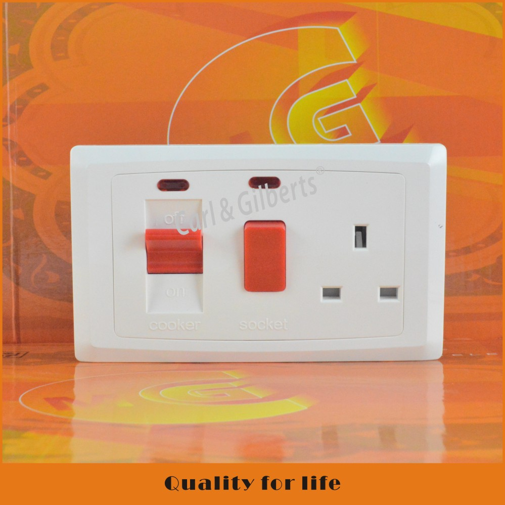 45A DOUBLE POLE COOKER CONTROL SWITCH & SOCKET WITH COMES WITH 13 A SWITCH SOCKET