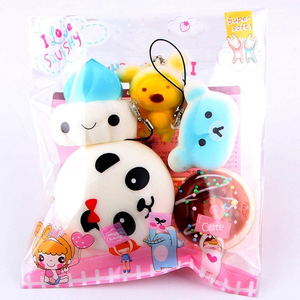 Iusun 5Pcs/10Pcs Medium Mini Kawaii Soft Squishy Slow Rising Bread Toys Key Cellphone Straps