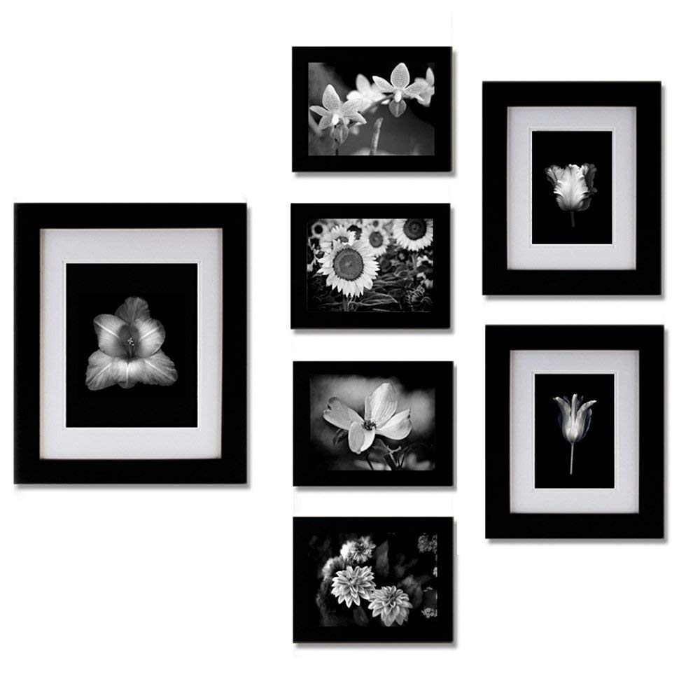 Gallery Perfect 7 Piece Black Photo Frame Wall Gallery Kit. Includes: Frames, Wall Template, Decorative Prints and Hanging Hardware
