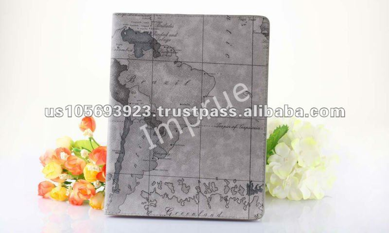 Map pattern Stylish Cover for Ipad 3Gen Wake/Sleep