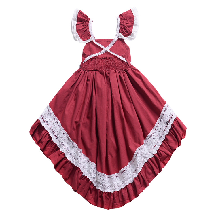 <strong>Kids</strong> <strong>Girl</strong> <strong>Fashion</strong> Dress Red Dovetail Dress with Lace Toddler <strong>Girl</strong> Cute Asymmetric Full Dress for Princess <strong>Kids</strong> <strong>Girl</strong>