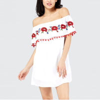 Hot Sale Off Shoulder frill mexican embroidered hot mini dress