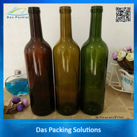 Cheap price 750ml red glass wine liquor bottles spirit glass bottles