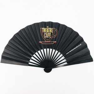 23cm Double sides Paper Black Bamboo Hand Fan for Decoration