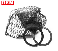 YLM custom design black Vintage loved woven net bag fishnet carrier bag braided tote mesh beach bag with round wooden handles