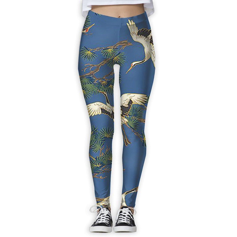 a6a880b26bd2c NSYGCK Art Cranes Bird Yoga Pants For Women colorful Yoga Capris Womens  Workout Leggings Womens Slim