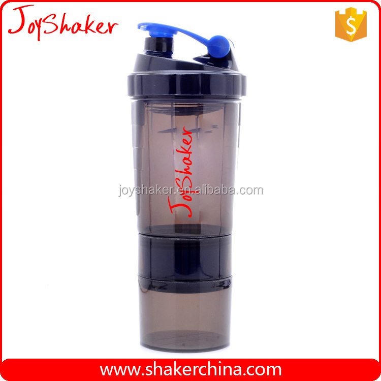 3 in 1 Sports Smart Shake,BPA Free Plastic Protein Powder Smart Shake Bottles with Storage Compartment / Pill Box