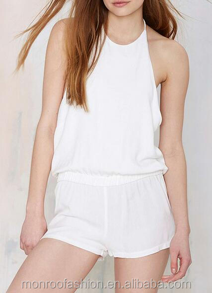 Monroo Wholesale Sexy Stylish Halter Design Sleeveless White Women Rompers Playsuit