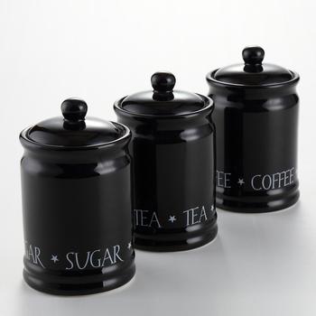 Goede Hoge Kwaliteit 3 Pcs Zwarte Kleur Thee Koffie Suiker Potten Opslag AG-46