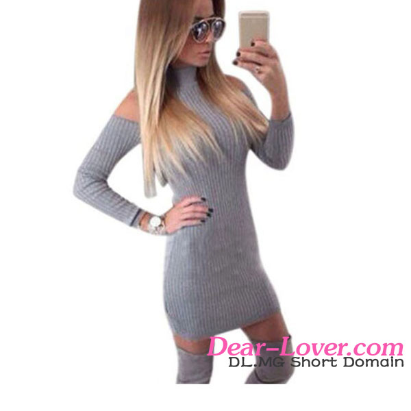 2017 Latest Cheap Mock Neck Cold Shoulder Long Sleeve Knit Sweater Dress
