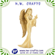Golden elegant female angel with dove figurine resin sculpture
