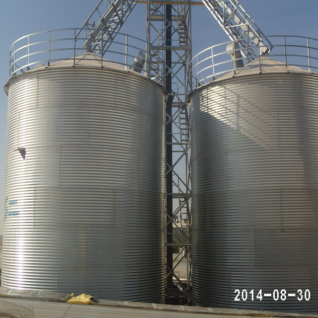 China 1000 Ton galvanized storage rice grain steel silo with conveying system