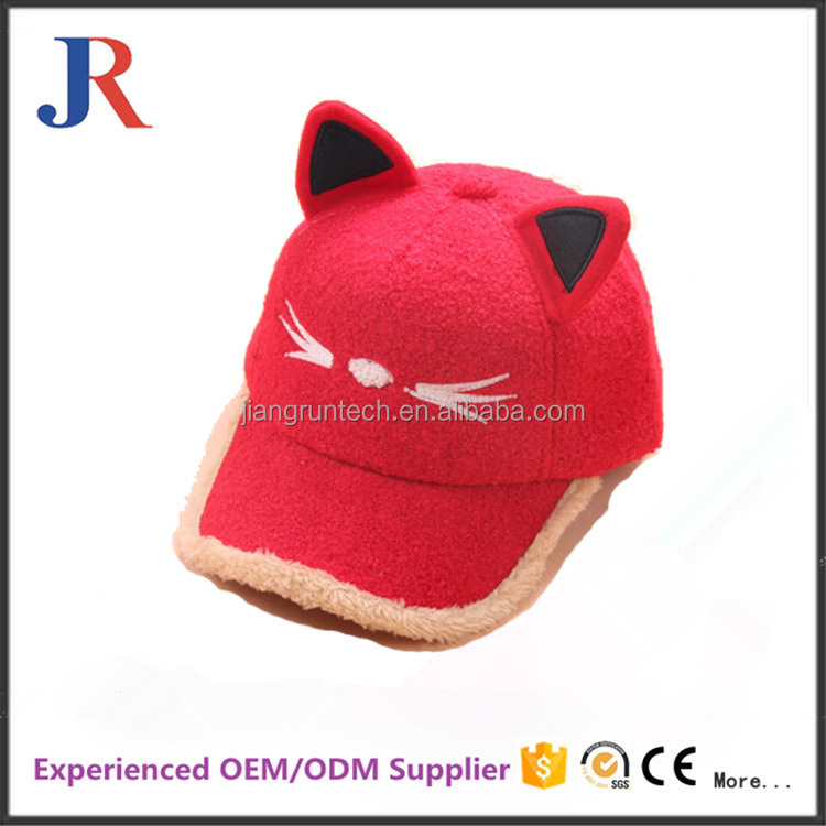 christy China factory cheap kids hot sale beautiful woolen baseball cap with cat ear for girls