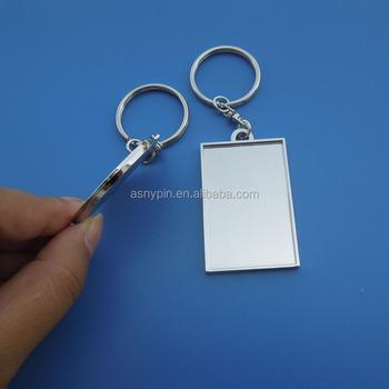 Custom Shape Sublimation Keychains,Metal Blank Round/ Rectangle
