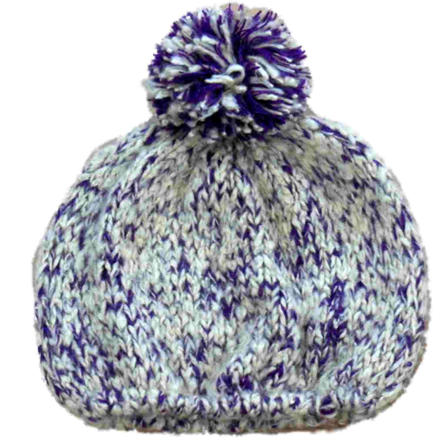 7ed19bdebb682 Get Quotations · Sonoma Womens Purple And Cream Colored Knit Beanie  Stocking Cap Hat