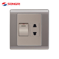 Wenzhou Factory Songri Customized Middle East Standard PC ABS 10 Amp 250V 1 Switch And 1 Socket