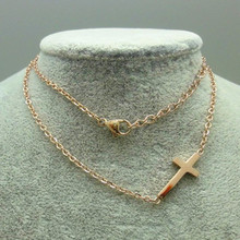 Costume Jewelery 24K Gold Plated Stainless steel Sideway Cross Necklace