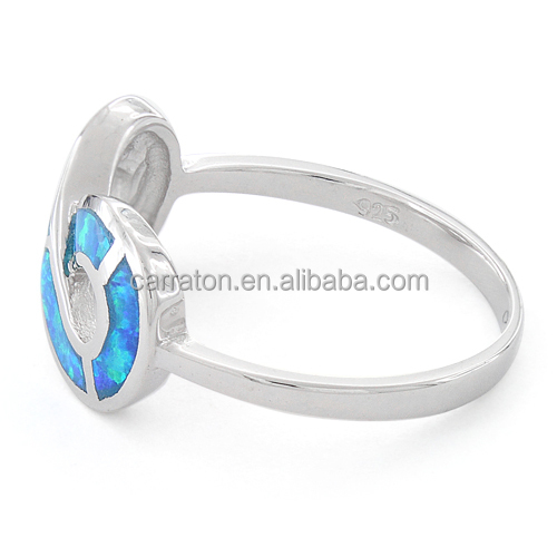 Newest Design Jewelry 925 sterling silver handmade blue opal infinity ring