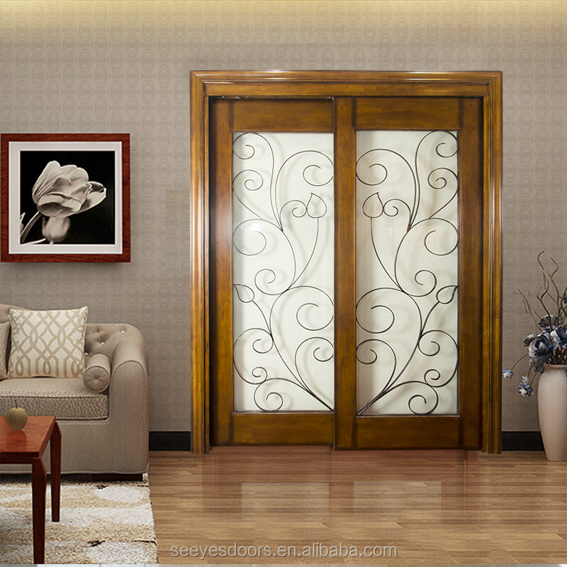 Living Room Dining Hall Sliding Partition Wood Glass Door Buy Wood