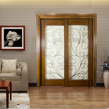 Living Room Dining Hall Sliding Partition Wood Glass Door