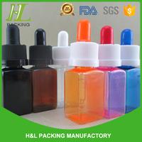 Square 30ml bottles amber, plastic bottle 30ml square pipette