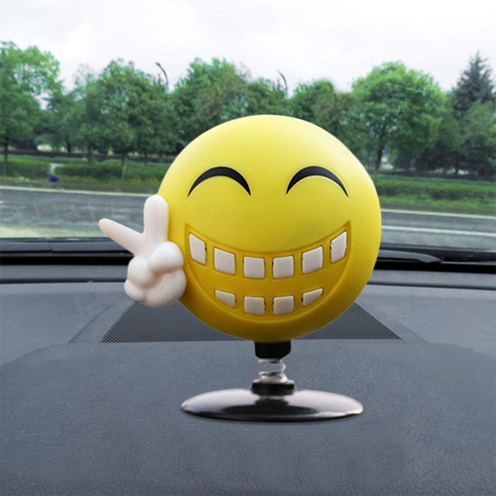 Solar Powered Dancing Toys Swinging Smile Emoji Bobble Dancer Toy Car Decor Gessppo
