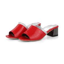 Женские сандалии Meotina, летние шлепанцы на массивном каблуке, с открытым носком, тапочки с оборками, красного, белого, черного цветов, большие ...(Китай)