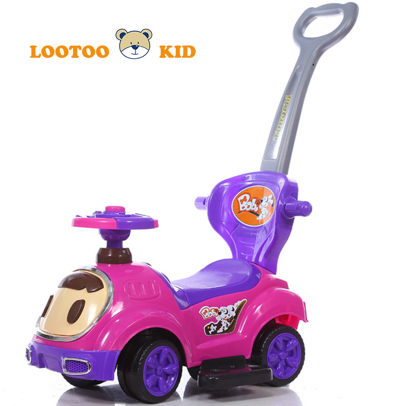 Buy best quality pink kids toy ride on cars with push handle for 2 year old