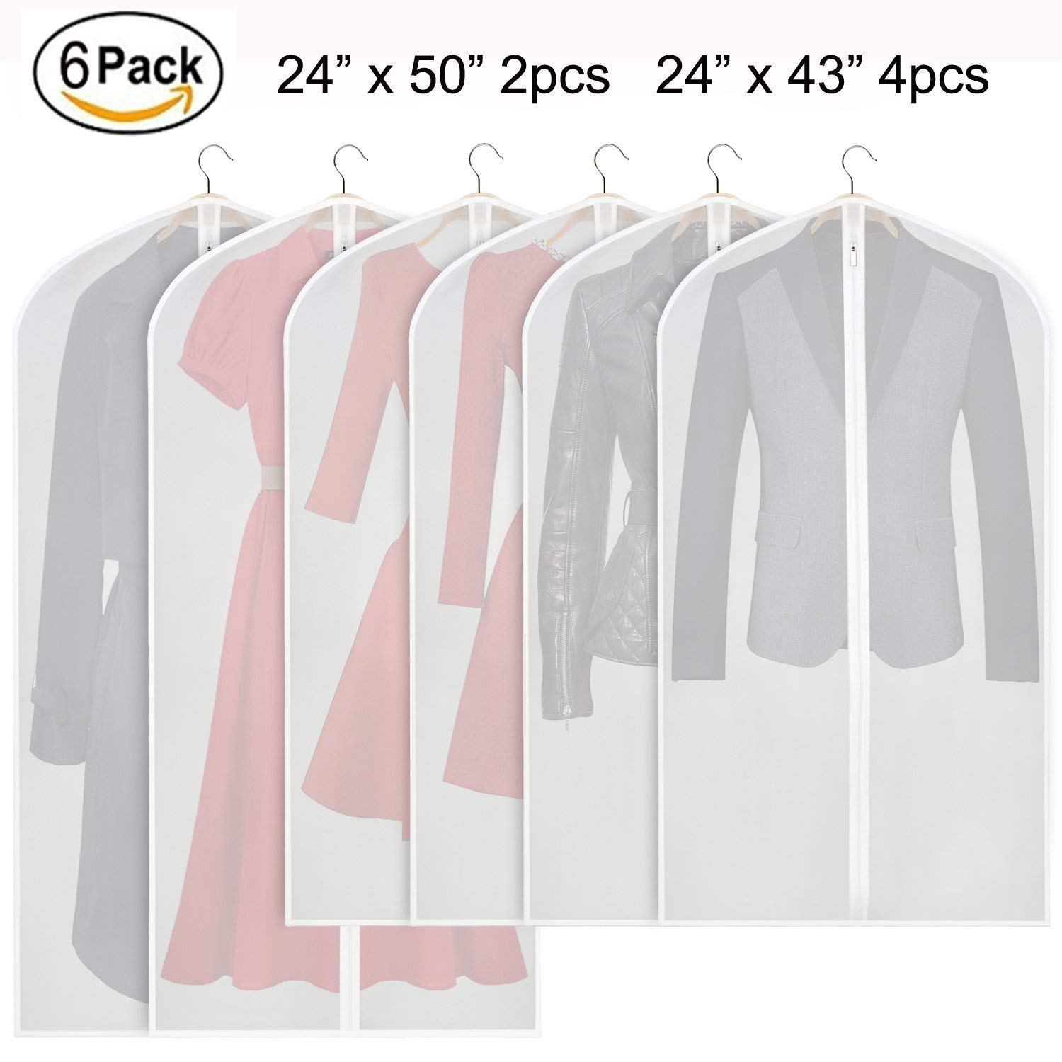Garment Bag Lightweight Suit Bags Moth-proof (Set of 6) with Study Full Zipper for Closet Storage and Travel, Clear White