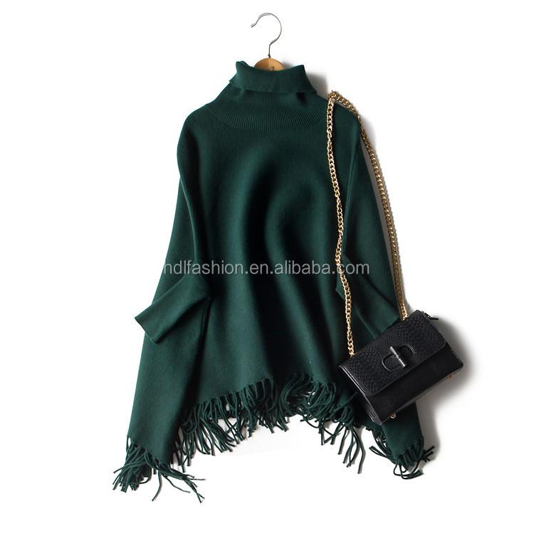 18032fbe4e4 High Neck Plus Size Pashmina With Fringe Women Wool Poncho Wholesale ...