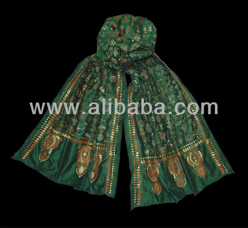 Green Silk Stole with Handcrafted Design