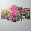 Free Shipping 5 Panels New Modern Wall beauty Pink Flower Pictures Decorative Art Painting Ready to Hang