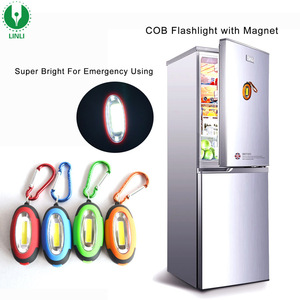 0.5W COB Light With Carabiner Free CR2032 Batteries Magnetic Torch Key Ring