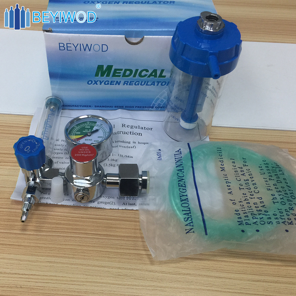 China high quality pressure medical oxygen regulator gas regulator with humidifier and flow meter