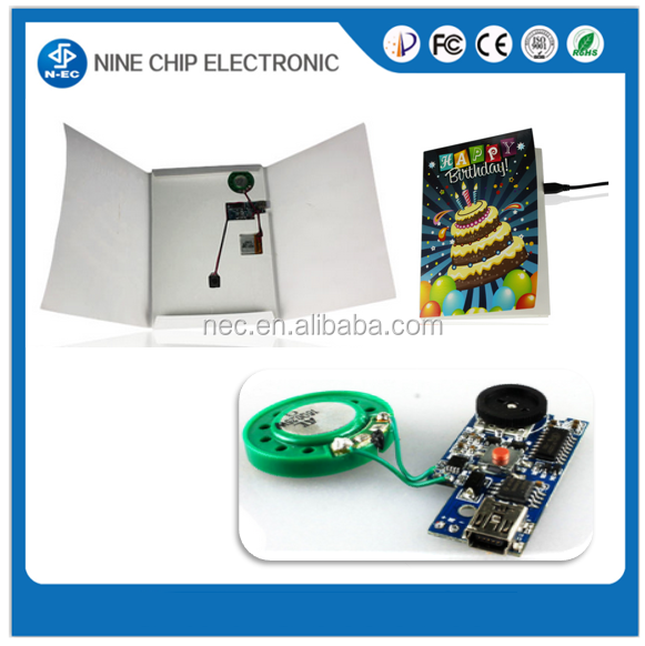 Custom high quality voice recording greeting card / sound recording module for greeting cards