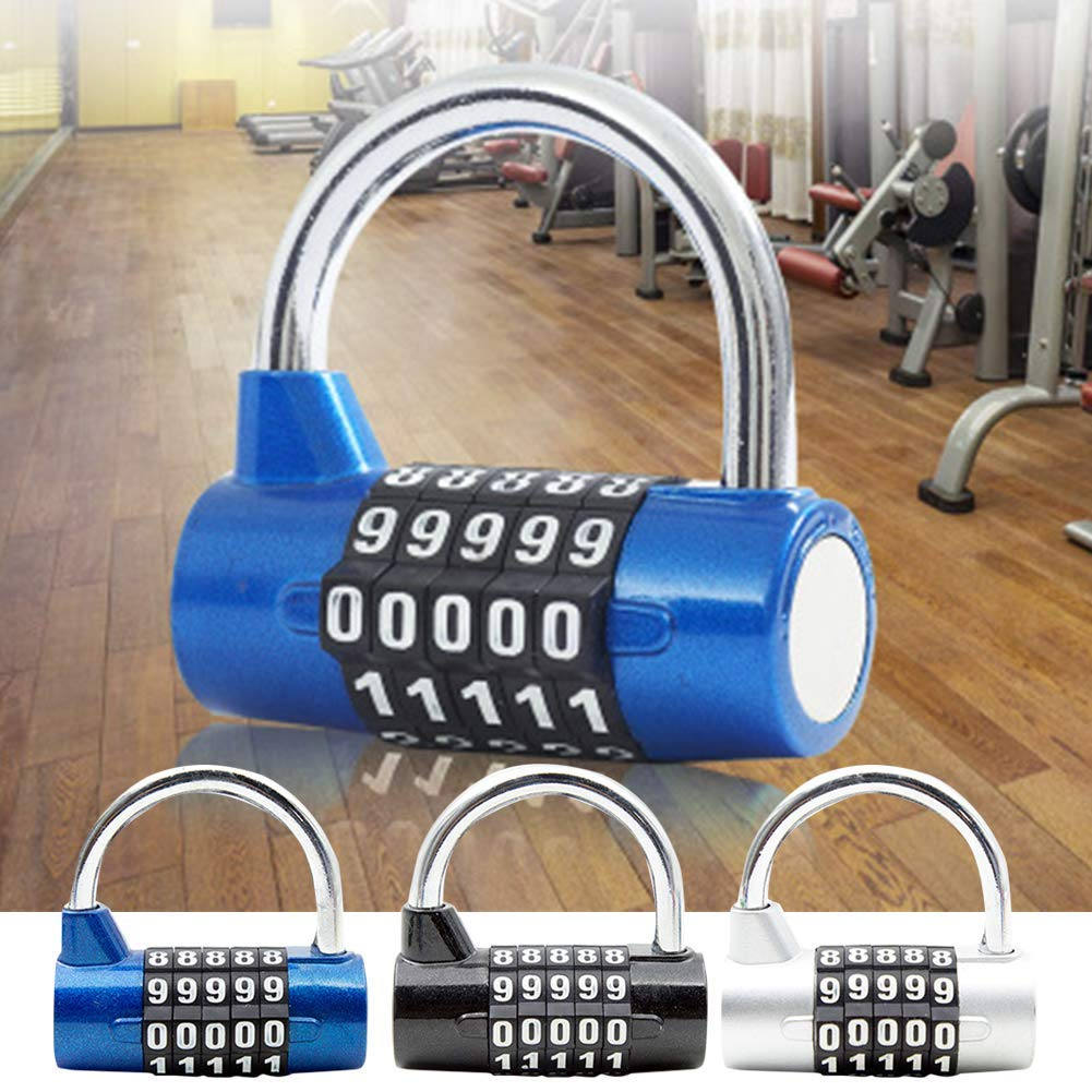 1b0f9819b8 Combination Padlock, 5-Number Combination Lock, Padlock for School & Gym  Locker, Outdoor, Fence, Hasp, Storage, Case, Toolbox & Shed – Resettable  All ...